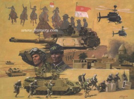 """THE 10TH U S CAVALRY RIDES AGAIN by Don Stivers Operation Iraqi Freedom March 2003 - March 2004 Image size 18.5 X 25"""" In stock and available Current price $175"""