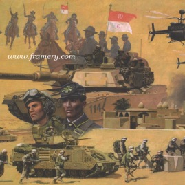 "THE 10TH U S CAVALRY RIDES AGAIN by Don Stivers Operation Iraqi Freedom March 2003 - March 2004 Image size 18.5 X 25"" In stock and available Current price $175"