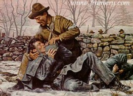"""AN ACT OF COMPASSION Sgt. Richard Kirkland, CSA, comforts dying Union soldiers at Fredericksburg, Va., Dec. 14, 1862. Image size 17 X 24"""" Call for price and availability"""