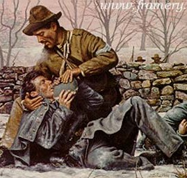 "AN ACT OF COMPASSION Sgt. Richard Kirkland, CSA, comforts dying Union soldiers at Fredericksburg, Va., Dec. 14, 1862. Image size 17 X 24"" Call for price and availability"