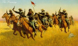 """ADVANCE AS SKIRMISHERS, CHARGE! by Frank McCarthy Image size 18 X 30"""" In stock and available Current price - Call"""