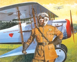 """ALL BLOOD RUNS RED by Don Stivers Eugene Jacques Bullard, America's first Black combat pilot, fighting for France in the Verdun region, 1917 Image size 18 X 22"""" In stock and available Current price - $150"""
