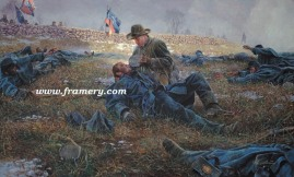 ANGEL OF MARYE'S HEIGHTS Sgt. Richard Kirkland, CSA, comforts dying Union soldiers at Fredericksburg, Va., Dec. 14, 1862. Image size: 17 X 28 In stock and available Current price - $200
