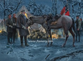 """AN APPLE FOR TRAVELLER by Mort Kunstler 2014 Snow Print Gen. Lee offers a treat to his beloved horse. S/N Lim Ed Print, Image Size: 17"""" x 23"""" Issue price: $225 AN APPLE FOR TRAVELLER 2014 Snow Print Gen. Lee offers a treat to his beloved horse. S/N Lim Ed Print, Image Size: 17"""" x 23"""" Issue price: $225"""