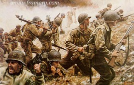 "BATTLE OF CRUCIFIX HILL Capt. Bobbie E. Brown and his men win and hold Crucifix Hill near Aachen, Germany. Image size 17 X 26"" In stock and available APs only Current price - $275"