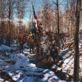 "BATTLEFIELD PRAYER Generals Lee, Jackson and Stuart near Hamilton's Crossing, Fredericksburg, Va. December 12, 1862 Image size 19.5 X 24"" Current price - Call"