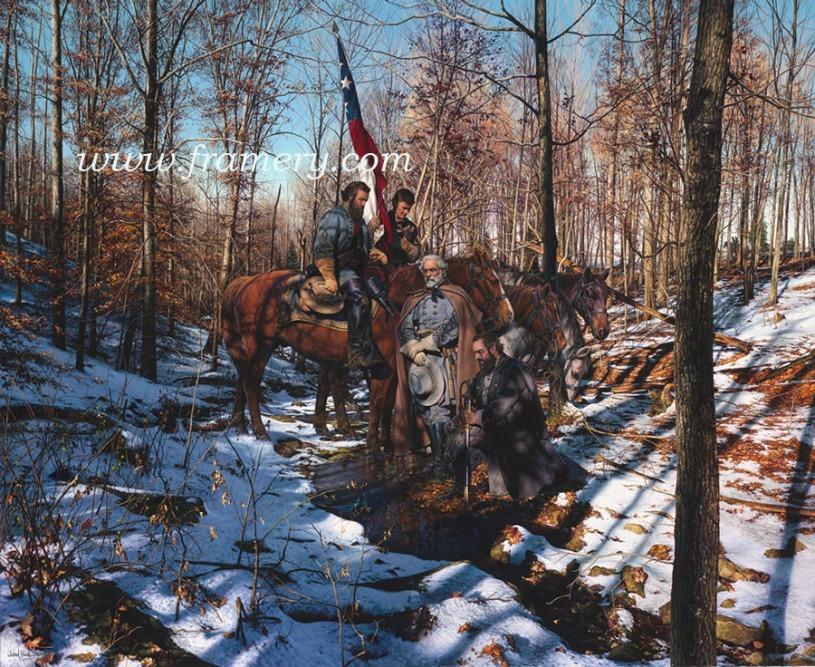 "BATTLEFIELD PRAYER Generals Lee, Jackson and Stuart near Hamilton's Crossing, Fredericksburg, Va. December 12, 1862 Image size 19.5 X 24"" Current price - Call"