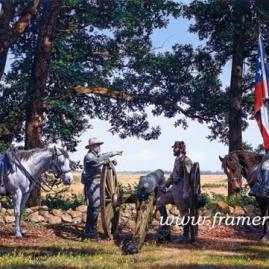 "BATTLEFIELD GETTYSBURG Gen. Lee, Col. Alexander & Gen. Longstreet discuss plans to attack Union forces at Gettysburg, July 3, 1863. Lim. Ed. Image size: 19.5 X 29"" Issue price: $200"