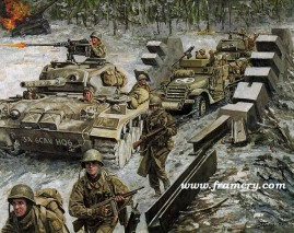 """BREAKING THE HARLANGE POCKET 6th U S Cavalry earns the Distinguished Unit Citation, January 1945 Image size 16.5 X 21"""" In stock and available Current price - $150"""