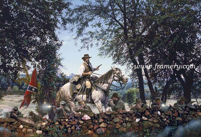"""BRICE'S CROSSROADS Maj Gen Forrest routs Federal Forces in Mississippi, June 1864 Image size 22.5 X 33 S/N Lim Ed Print - Issue price $200 Image size 19.5 X 28.75"""" S/N Classic Canvas Giclée - Issue price $525"""