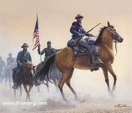 """BUFFALO SOLDIERS OF THE WEST by Mort Kunstler Includes a numbered first day cover initialed by the artist. Image size: 13.5 X 15.5"""" (approx) In stock and available - Artist Proofs only - Current price $245"""