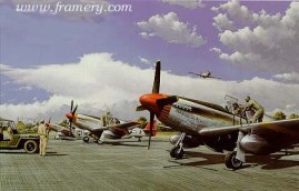 BUTTON UP TIME 302nd Fighter Squadron TUSKEGEE AIRMEN 332nd Fighter Group 50 Year Commemorative Edition by Ric Druet Each print is countersigned by squadron members. Each set is accompanied by information on the pilots and the fighter group. Current price - Call