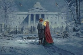 """CAPITOL FAREWELL by Mort Kunstler In Stock and Available The capitol building Raleigh, North Carolina, February 5, 1863 S/N Lim Ed Print, Image size: 17"""" x 25.5"""" Issue price $225"""