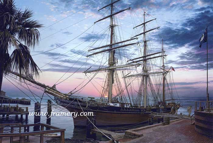"CAVALIER OF THE SEAS A Confederate Navy vessel prepares to break the Union blockade of southern ports. Charleston, SC, 1861 S/N Limited Edition Print 19 1/2 X 29"" Issue price - $200 S/N Classic Canvas Giclee 22 1/4 X 33"" Issue price - $525 In stock and available"