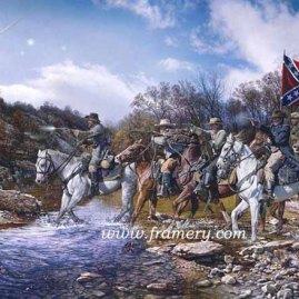 "CHARGE ACROSS THE HARPETH Gen N.B. Forrest charges Federal forces at Hughes Ford, Franklin, Tenn, Nov. 30. 1864 S/N Lim Ed Print Image Size 18.25"" X 29.25"" Issue price $200 In stock and available"