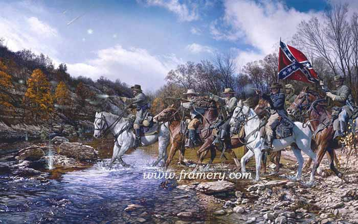 """CHARGE ACROSS THE HARPETH Gen N.B. Forrest charges Federal forces at Hughes Ford, Franklin, Tenn, Nov. 30. 1864 S/N Lim Ed Print Image Size 18.25"""" X 29.25"""" Issue price $200 In stock and available"""