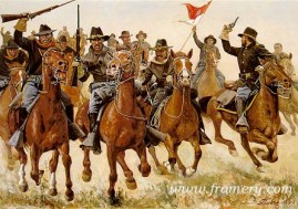 """THE CHASE AT RATTLESNAKE SPRINGS by Don Stivers The 10th U.S. Cavalry in pursuit of Apache leader Victorio. Image size 17.5 X 25"""" Current price - Call"""