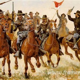 "THE CHASE AT RATTLESNAKE SPRINGS by Don Stivers The 10th U.S. Cavalry in pursuit of Apache leader Victorio. Image size 17.5 X 25"" Current price - Call"