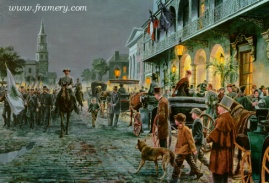 CHARLESTON - AUTUMN 1861 Guests arrive at Mills House for a reception as Gen. Lee watches from the balcony. Image size: 18 X 29 In stock and available Current Price - $200
