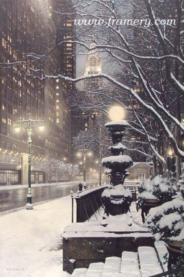 """CITY LIGHTS The Chrysler Building viewed from Lexington Avenue Giclee on Canvas 45 X 30"""" $1750 Print on Canvas 36 X 24"""" $450 Print on Paper 30 X 20"""" $195"""