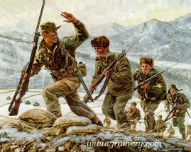 """COLD STEEL Captain Lewis Millet leads a bayonet assault on Hill 180, Soam-Ni, Korea Feb. 7, 1951 Image size 18 X 22.5"""" In stock and available Current price - Call"""