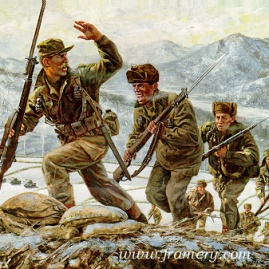 "COLD STEEL Captain Lewis Millet leads a bayonet assault on Hill 180, Soam-Ni, Korea Feb. 7, 1951 Image size 18 X 22.5"" In stock and available Current price - Call"