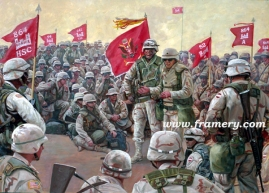 "THE COMMAND TEAM A seven-company battalion assembles in Kuwait before entering Iraq, March 2003 Image Size: 18"" x 25"" In stock and available Current price - Call"