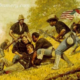 """A DAY OF HONOR by Don Stivers Pvt. Augustus Walley, San Juan Hill, Cuba, June 24, 1898 Image size 17 X 23.5"""" In stock and available Current price - $200"""
