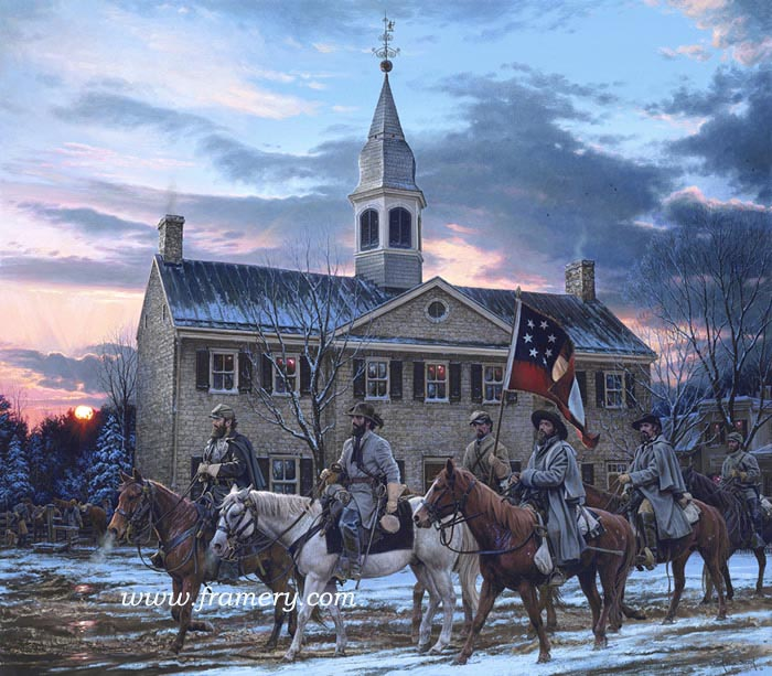 """DEFENDERS OF THE VALLEY Gen. Jackson, Col. Turner Ashby, & Capt. Jedediah Hotchkiss Shenandoah County Courthouse, Woodstock, Virginia - March 1862 Image Size 19 3/4"""" x 22 1/2"""" In Stock and available Current price - $200"""