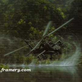 "DELIVERANCE bu Dru Blair AH-64 Apache Signed only 24 X 30"" In stock and available - $65"