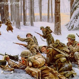 "THE DESPERATE HOURS Sgt. Lamoine ""Frank"" Olsen and his company hold their position against the Germans during the Battle of the Bulge. Image size 18 X 25"" In stock and available Current price - $150"