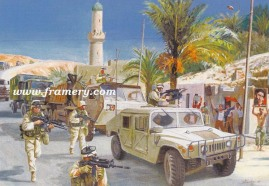 """DESPITE ALL OBSTACLES Transportation Corps' Tiger Team near Baghdad Image size 16"""" x 23.5"""" In stock and available Current price - $150"""