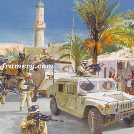 "DESPITE ALL OBSTACLES Transportation Corps' Tiger Team near Baghdad Image size 16"" x 23.5"" In stock and available Current price - $150"
