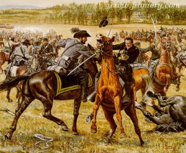 """DUEL ON YEW RIDGE """"Rooney"""" Lee, son of Robert E. Lee, responds to a Union captain's demand for surrender. June 9, 1863. Image size 16 X 25"""" In stock and available Current price - $150"""