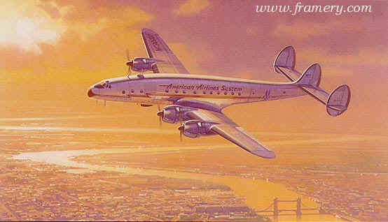 EARLY MORNING ARRIVAL by Robert Watts The Lockheed Constellation over London in the immediate post war years. In stock and available Current Price $500