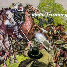 "FARNSWORTH'S CHARGE BG E. J. Farnsworth leads a charge against the 15th Alabama Infantry Image size 17"" X 25"" In stock and available Current price - $150"