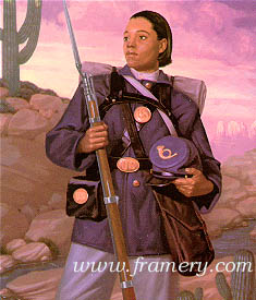 "FEMALE BUFFALO SOLDIER by William Jennings Born a slave, Cathay Williams enlisted in the original Buffalo Soldier Regiment and served for two years. Image size 19 X 15"" In stock and available Current price - $185"