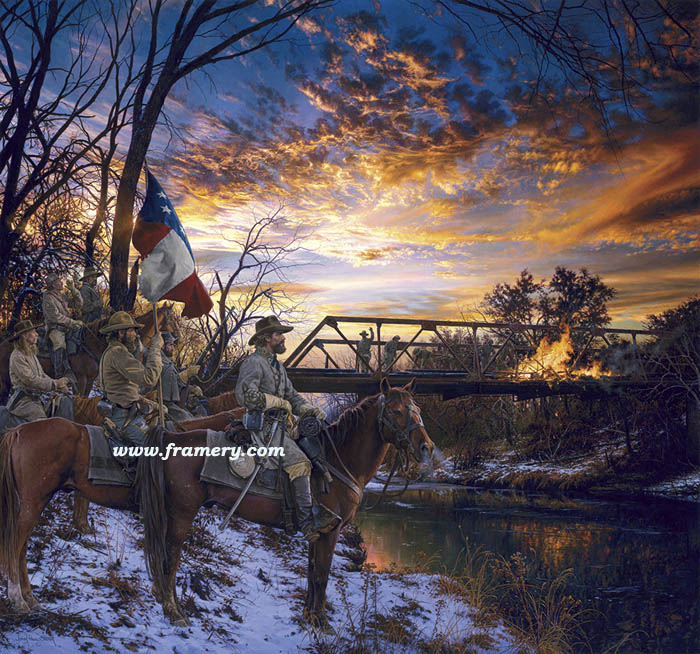 """FIRE IN THE SKY General N.B. Forrest's Raid Into West Tennessee Obion River – December 1862 S/N Print Image size 19 X 21"""" Current price - Call"""