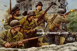 """FIRST AT NORMANDY Members of the 8th Infantry Regimental Combat Team of the 4th Infantry Division landed on the beaches of Normandy, 6 June 1944. Image size: 17"""" X 24"""" In stock and available Issue price - $175"""