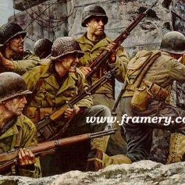 "FIRST AT NORMANDY Members of the 8th Infantry Regimental Combat Team of the 4th Infantry Division landed on the beaches of Normandy, 6 June 1944. Image size: 17"" X 24"" In stock and available Issue price - $175"