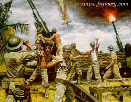 "FIRST TO FIRE Dec. 8, 1941, at Clark Field in the Philippines, the 200th Coast Artillery was the first to fire on the enemy. Image size 16.5 X 21"" In stock and available Current price - $150"