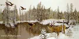 FIVE O'CLOCK SHADOWS by D. L. Rust Five hidden wolves watch over the lake. In stock and available Current price - $450