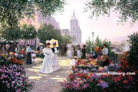 FLOWER MARKET ALONG THE SEINE by Christa Kieffer In stock and available - Current price $150