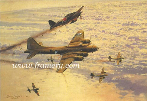 """FORTRESS UNDER ATTACK by Robert Taylor Image size: 14 X 18"""" with Companion Print VALOR IN THE PACIFIC by Robert Taylor Image size: 25 X 34"""" B29s of the 499th Bomb Group, 73rd Wing of the 20th Air Force after a daylight raid on Tokyo In stock and available Current price - $350 (for both)"""