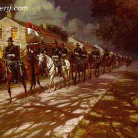 """FORT CONCHO by Robert Summers On a moonlit night Buffalo Soldiers leave Ft. Concho, Texas. Image size 20 X 30"""" In stock and available - Artist Proofs Only Current price - $350"""