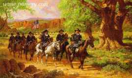 """FORT DAVIS by Robert Summers Buffalo Soldiers leave Ft. Davis, Texas, on patrol. Image size 20 X 30"""" Current price - Call"""