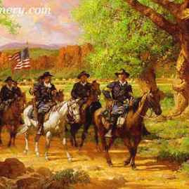"FORT DAVIS by Robert Summers Buffalo Soldiers leave Ft. Davis, Texas, on patrol. Image size 20 X 30"" Current price - Call"