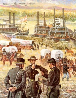 """GATEWAY TO VICTORY Paying tribute to the US Army Quartermaster Corps The Tennessee River becomes a supply route for Federal troops at Chattanooga. November 1863 Image size 23 X 18"""" In stock and available Current price - $150"""
