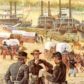 "GATEWAY TO VICTORY Paying tribute to the US Army Quartermaster Corps The Tennessee River becomes a supply route for Federal troops at Chattanooga. November 1863 Image size 23 X 18"" In stock and available Current price - $150"
