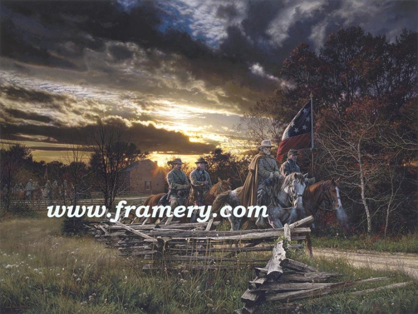 """THE GATHERING STORM General Robert E. Lee near Salem Church Orange Plank Rd, Va., Nov. 20, 1862 S/N Print Image size 19.5 X 26"""" In stock and available Current price - Call"""